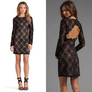 Bardot Open Back Long Sleeves Floral Lace Dress